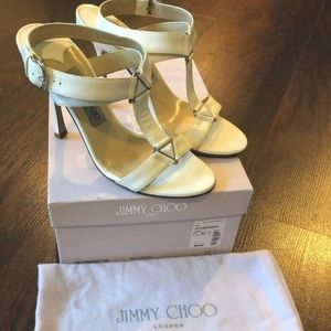 Jimmy Choo Size 37 US 7 White Patent Strappy Heels